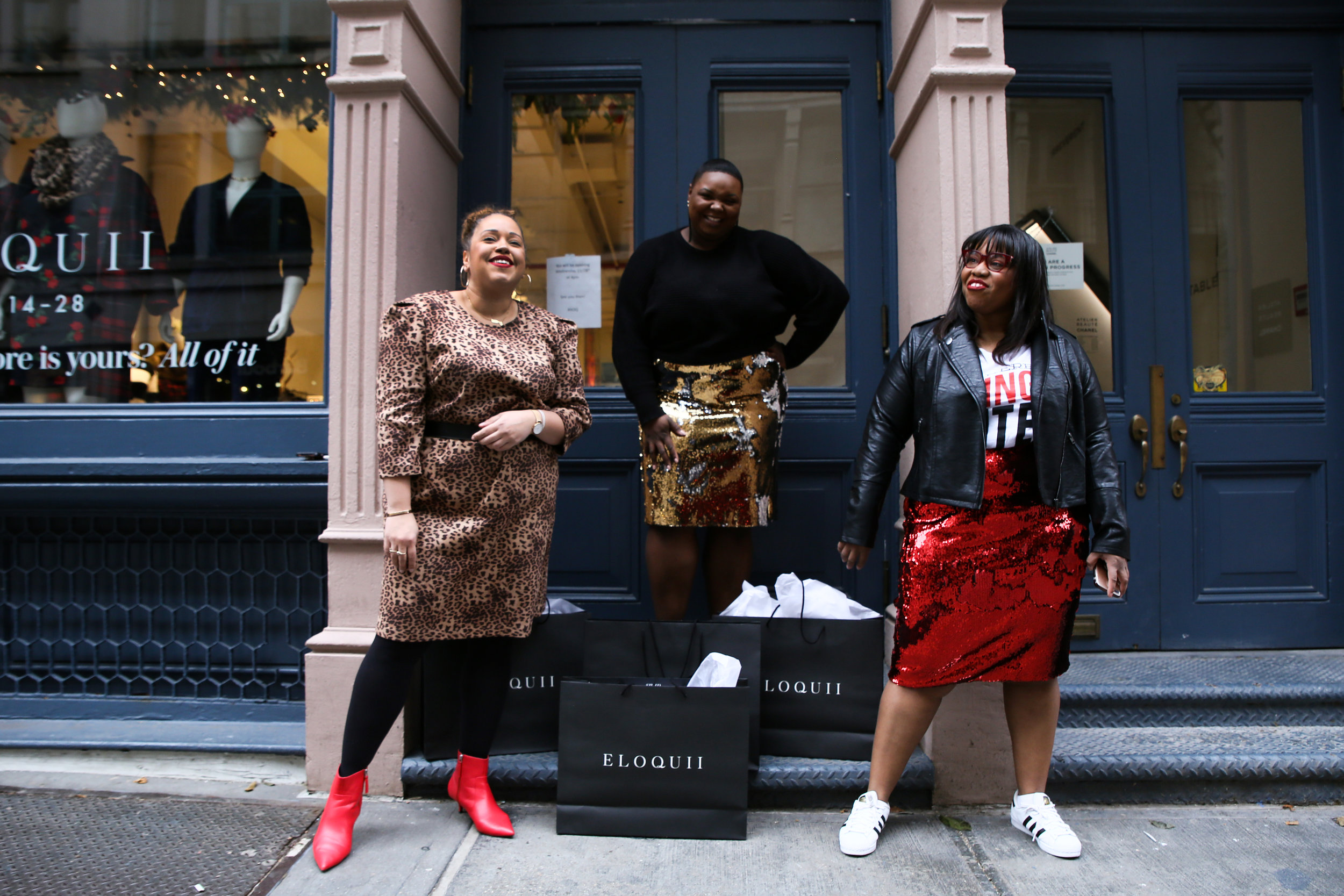 Sandra of  La Pecosa Preciosa , ELOQUII Team Member Kourtney, and Jami of  Style Over Size