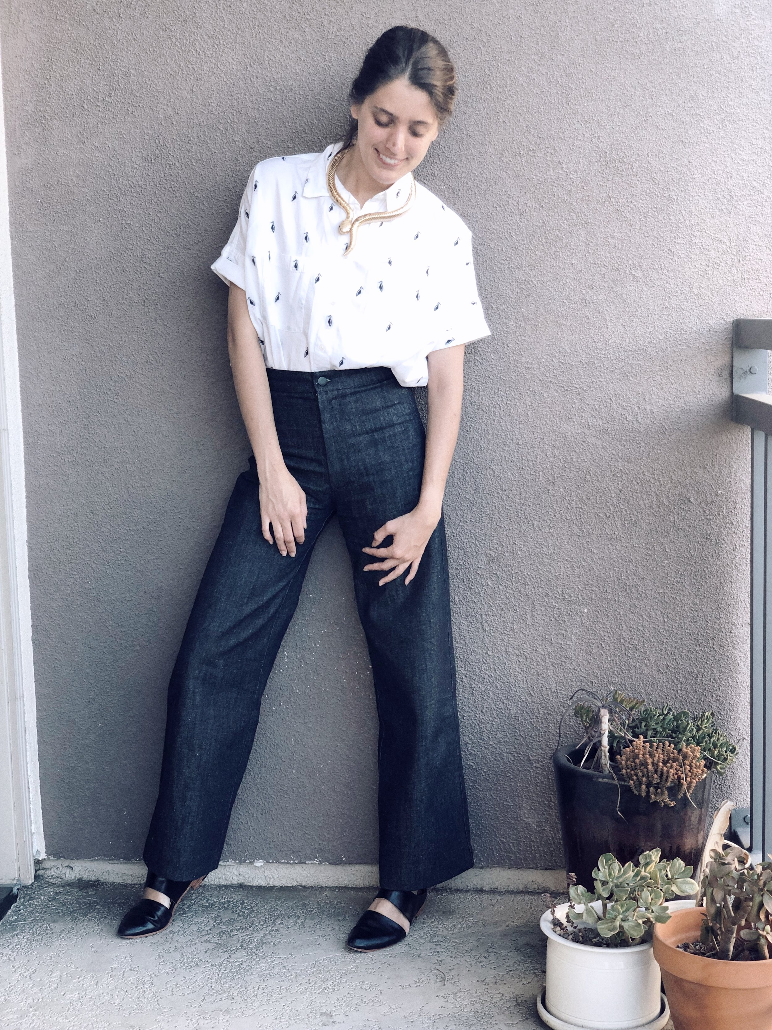 Top- Madewell via Poshmark; Denim- Ozma of California; Mules- ZouXou Shoes; Snake Necklace- Oldie but Goodie