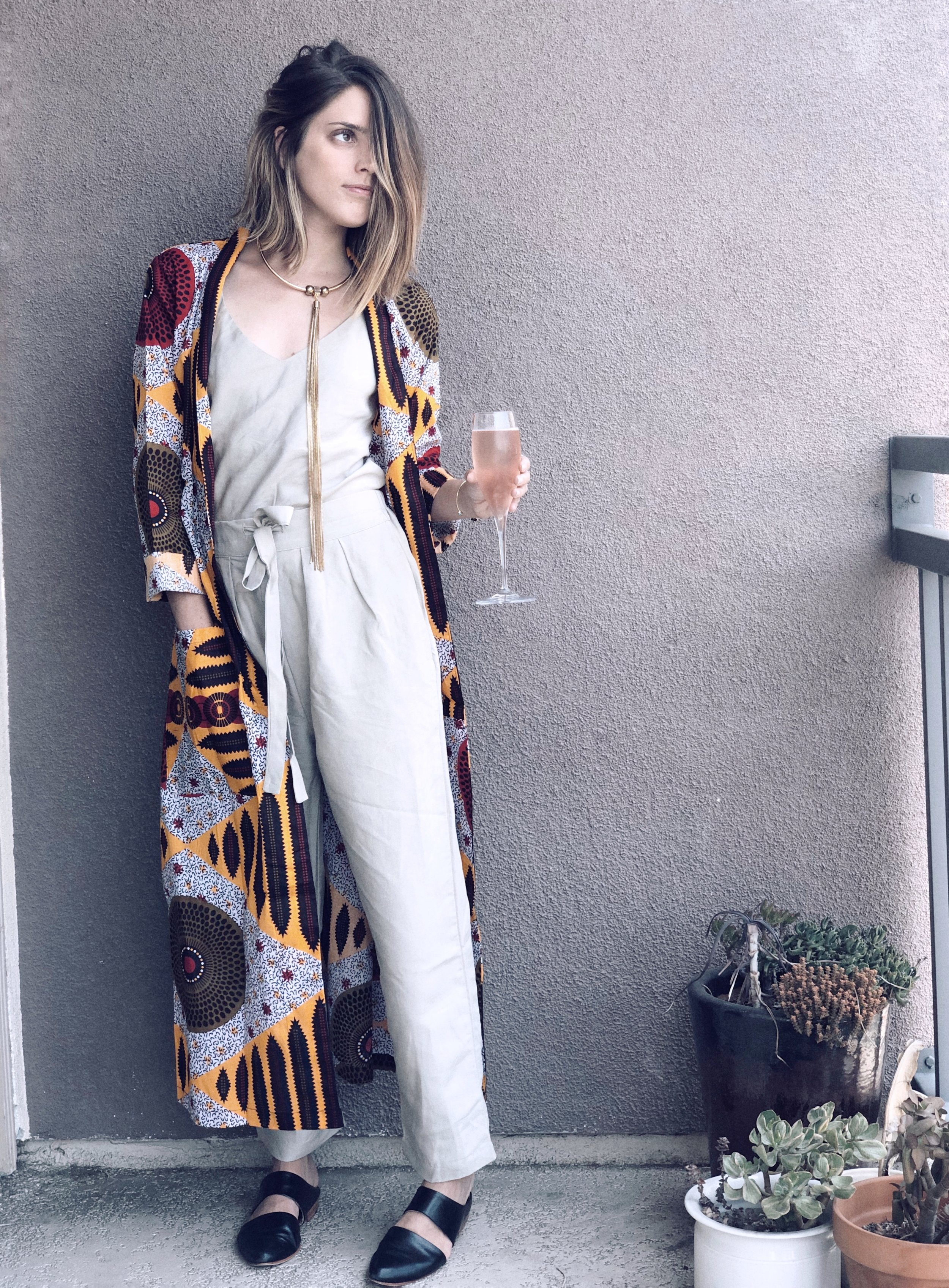 Top & Pants- Ozma of California; Mules- ZouXou Shoes; Robe- The Robe Lives; Necklace- Oldie but Goodie