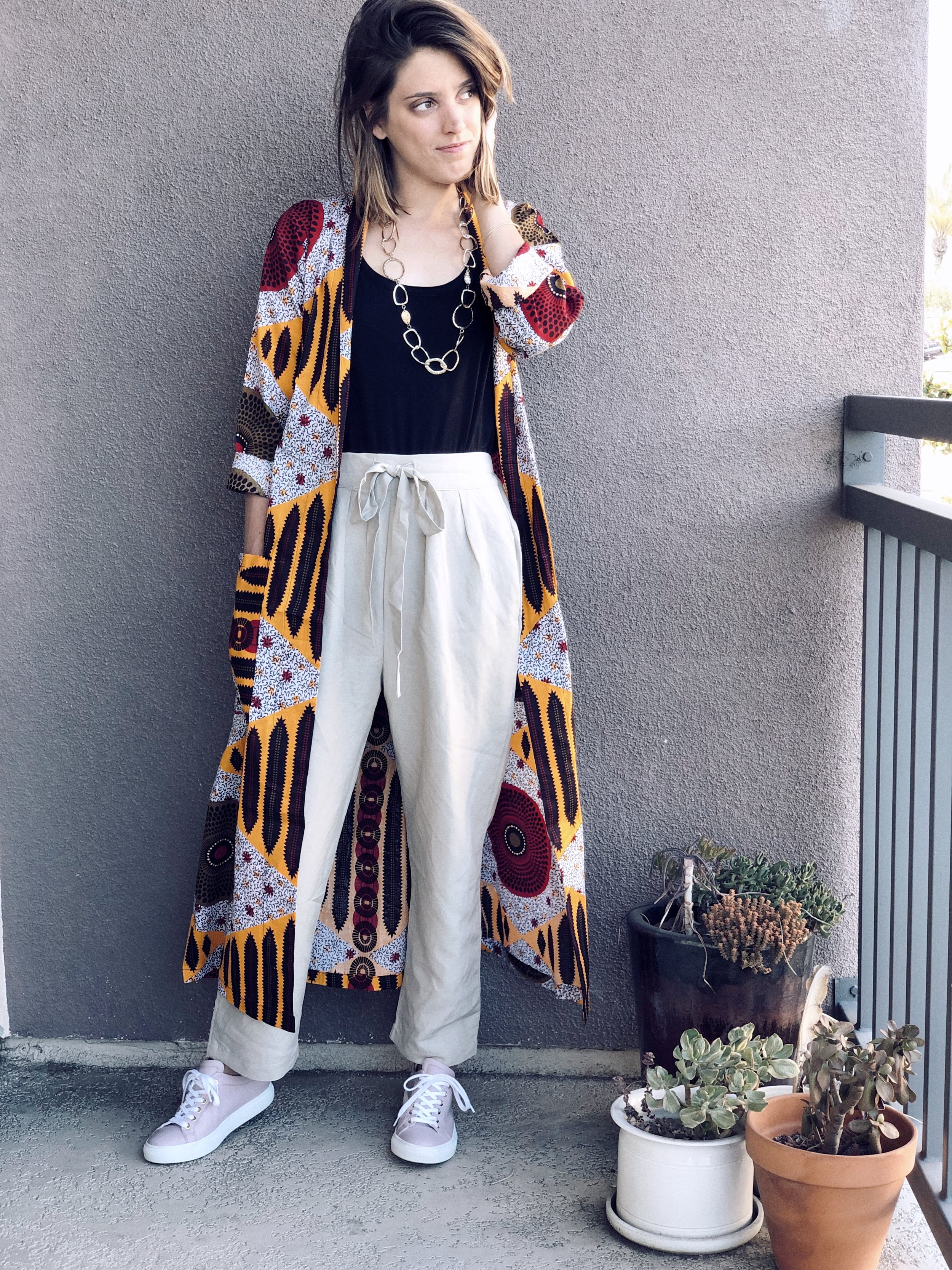 Tank- Cuyana; Pants- Ozma of California; Sneakers- M. Gemi; Robe- The Robe Lives; Necklace- oldie but goodie