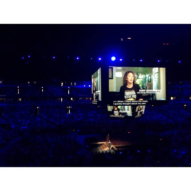 Our film on the BIG big screen! That's a packed house at Bulls Arena watching one of our latest pieces. Here's the backstory: A few weeks ago we made a video for @starbucks about an incredible store manager named Judy (see the next 📷 by @gesilver ) who spearheaded a number of mental health initiatives at her location. One was an affirmations box (see 📷 3 by @deanneuh ) where people could leave or take a note of inspiration and love. Judy is one of those people who just radiated joy. We're so glad we got to bring her story to that massive screen. Thanks for the 📷 by Michael Ko!