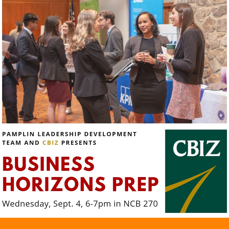 All students are welcome to join us for our first fall workshop on September 4th, 6-7 pm in NCB 270! Representatives from CBIZ are sharing tips to help you prepare for Business Horizons.