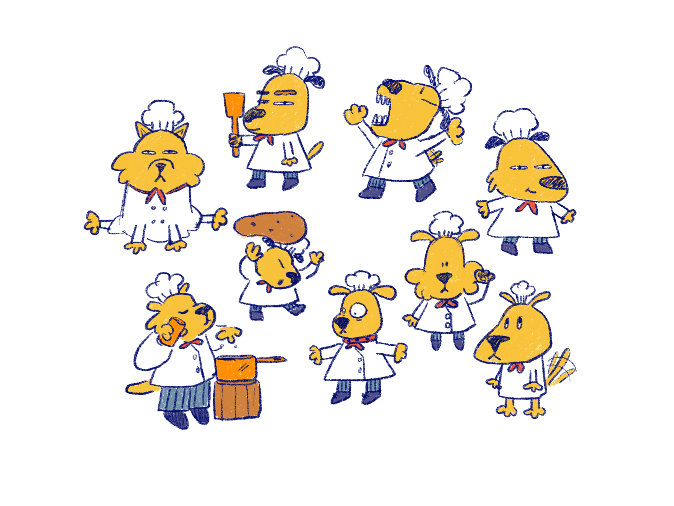 Character Concepts - Dog Chefs
