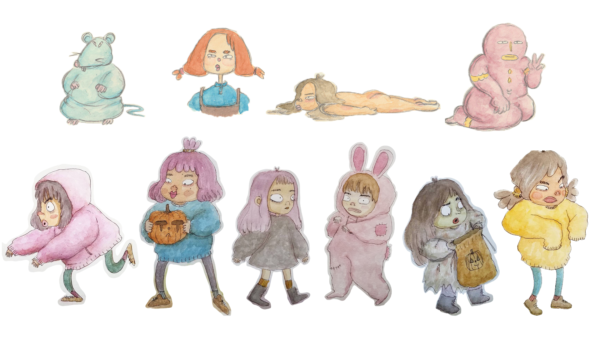 Sketchbook - Characters done in watercolor and pencil/pen.