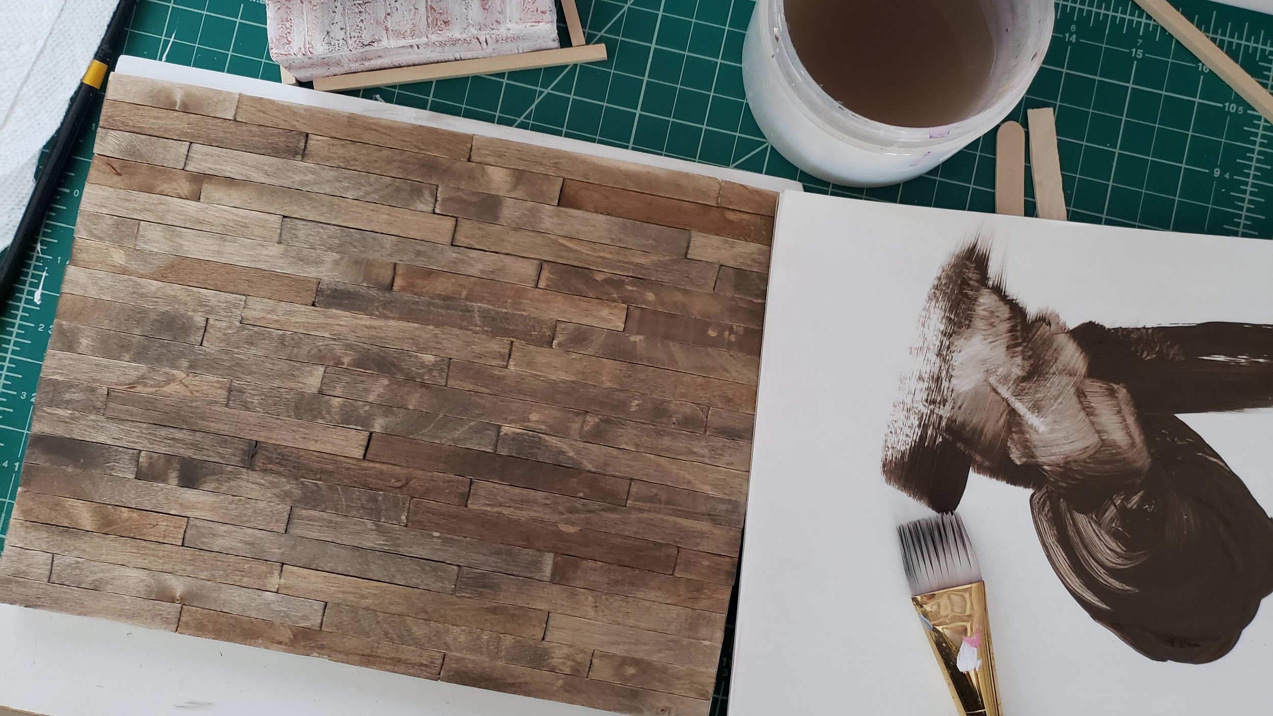 In Progress Pic - Wood stain using acrylic paint mixed with water