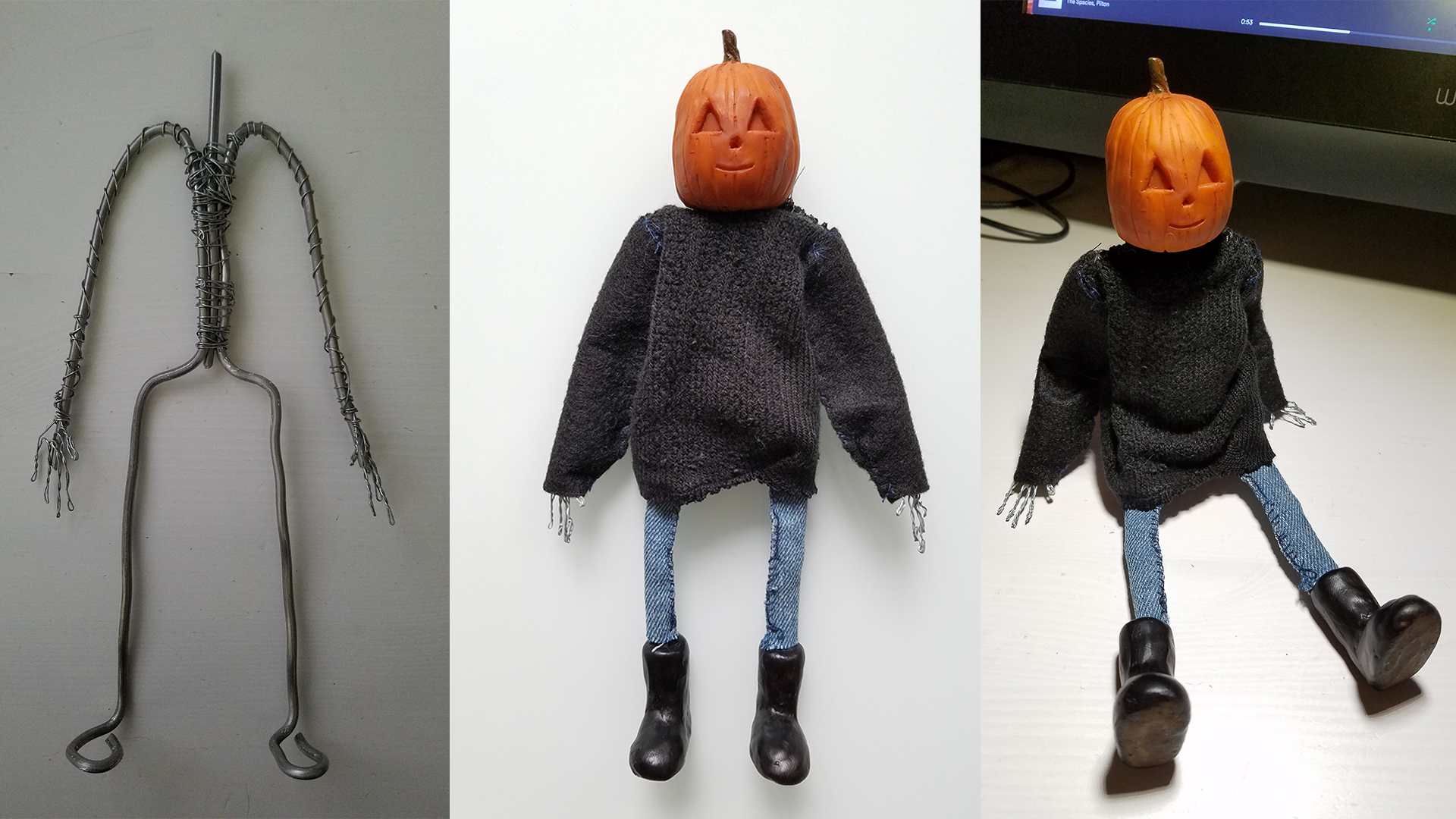 Puppet - Made in Toy Design class. Materials: wire armature, sculpey, acrylic paint, scrap fabric