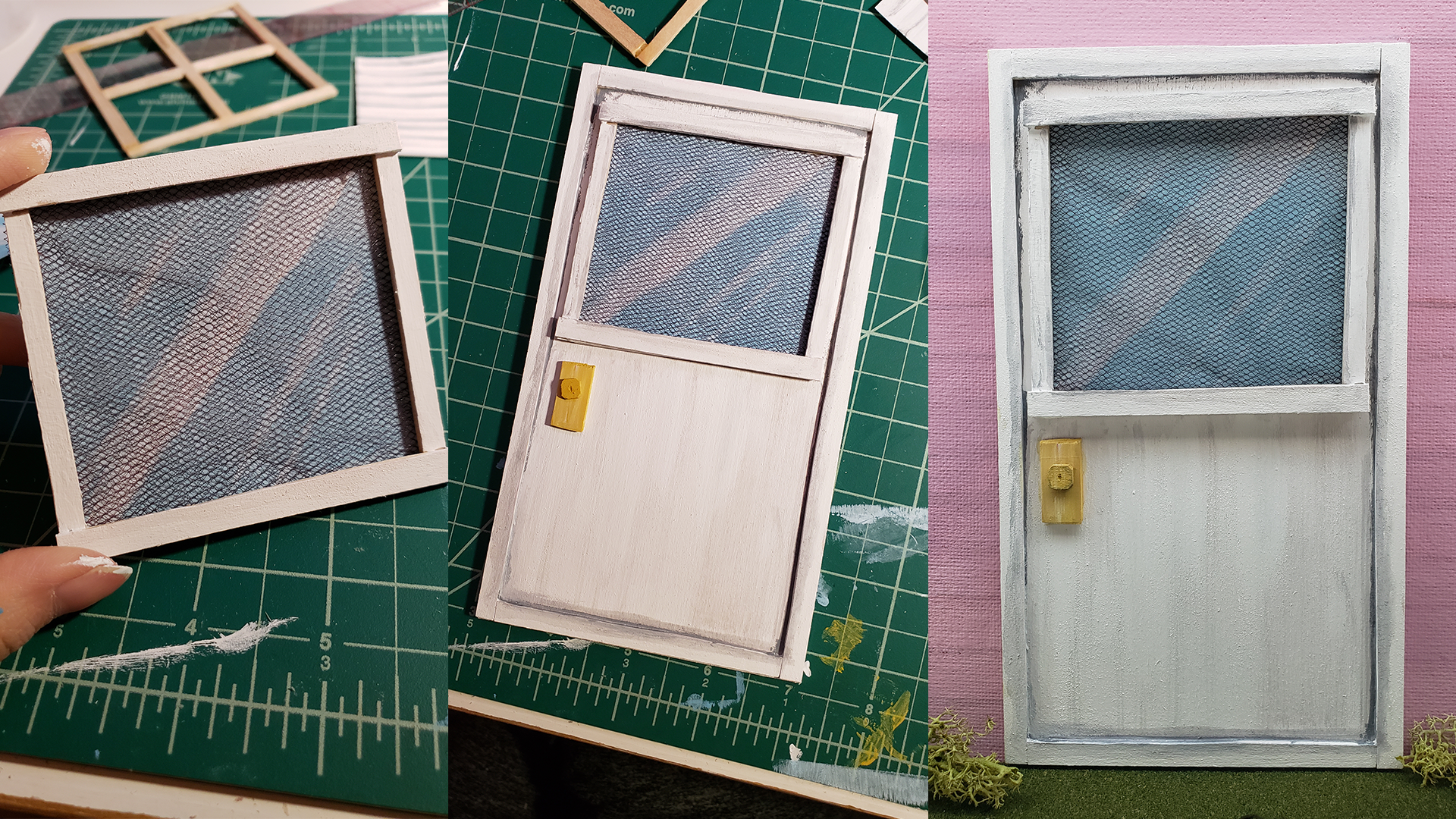 Used balsa wood. Door screen is tulle. The window image is acrylic paint.