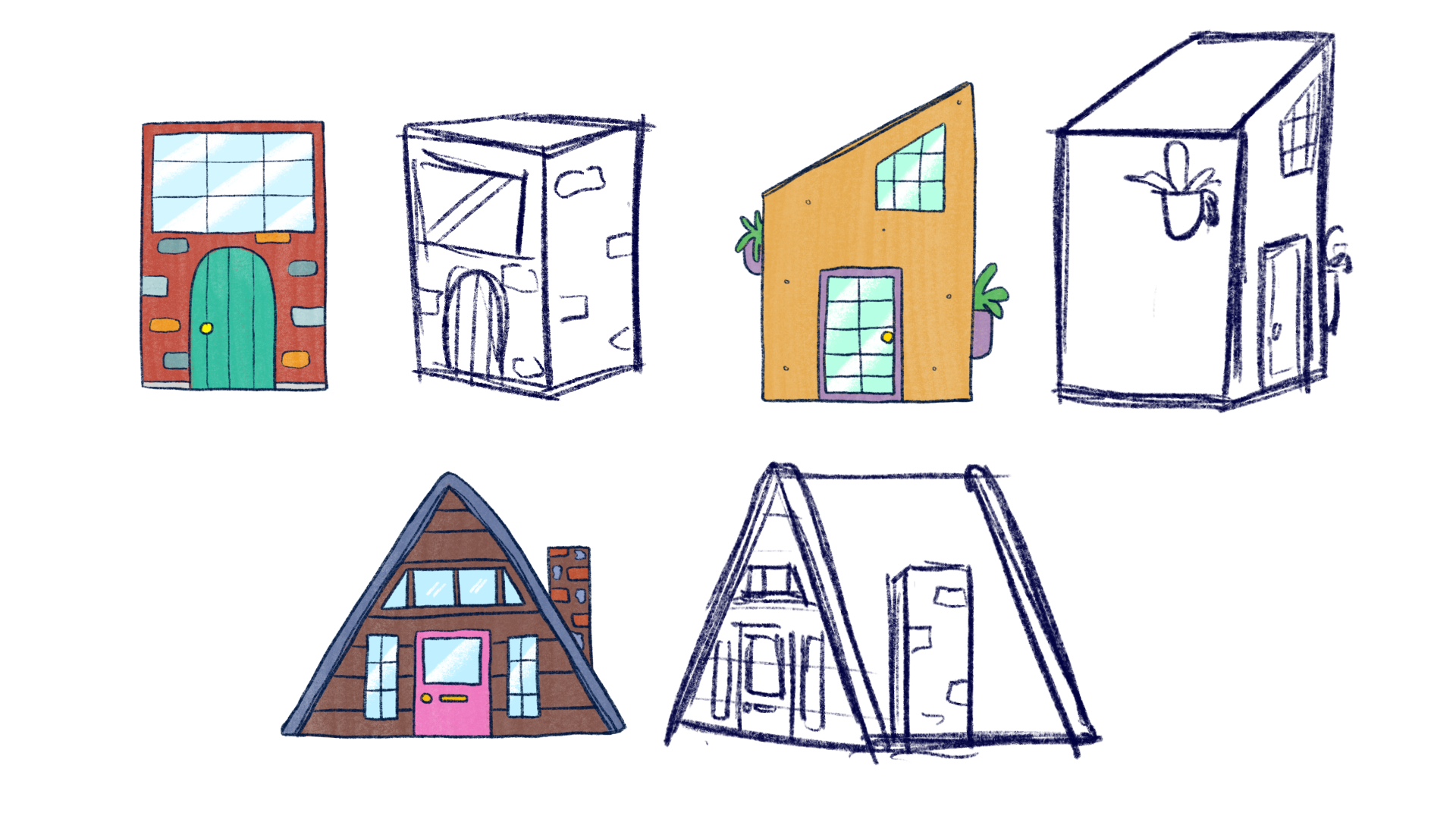 These tiny homes were sketchbook doodles, and I thought it'd be fun to sculpt them.