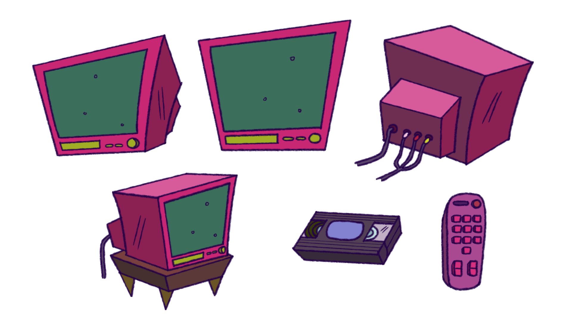 Prop Design - TV with videotape and remote