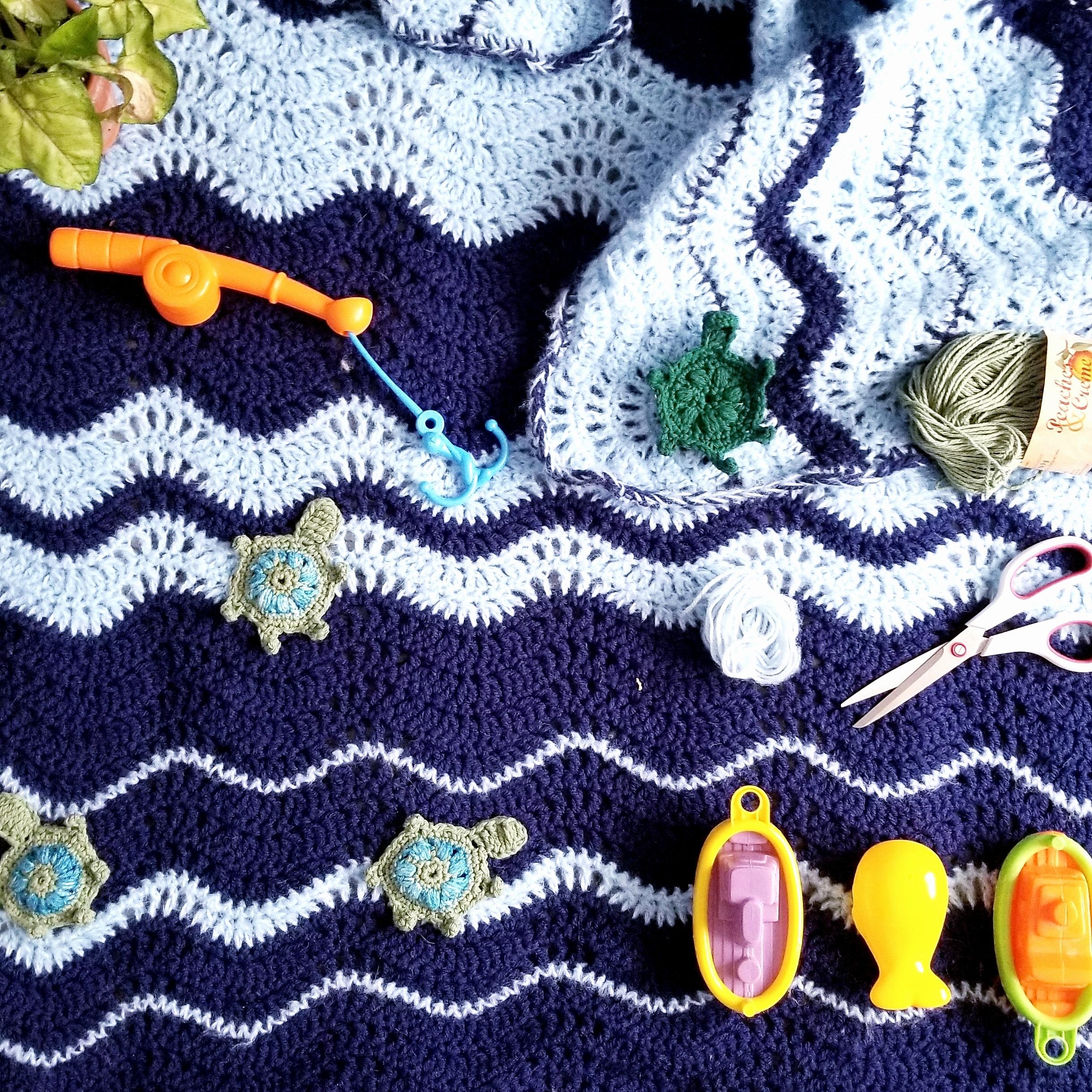 Crochet Turtle Applique on the Destin Blanket