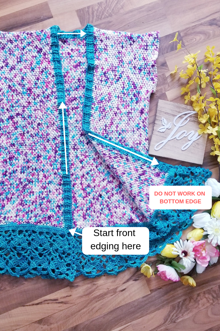 Crochet up the front and around to form the edging.