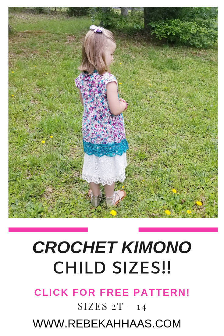 Free Crochet Kimono Pattern for sizes 2t-14