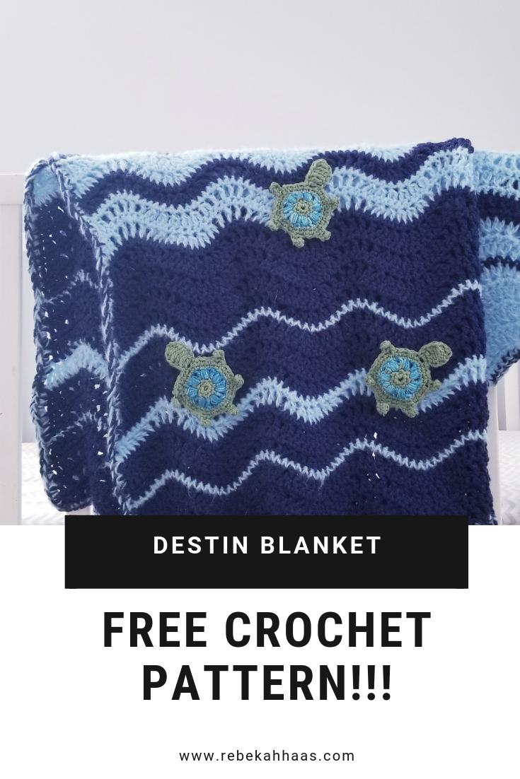 Destin Blanket - free ripple crochet blanket pattern
