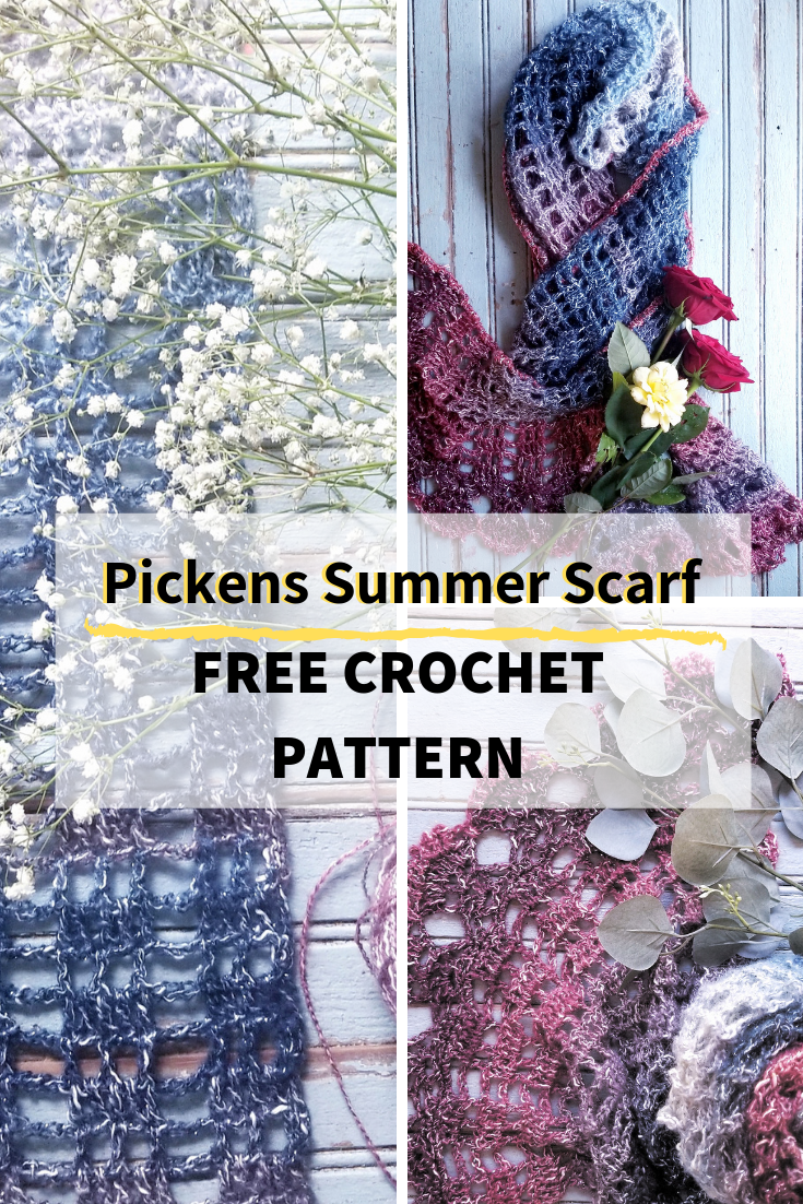 Pickens Summer Scarf- Free crochet pattern for the advanced beginner. #freecrochetpattern #crochetsummerscarf #crochetlacewrap