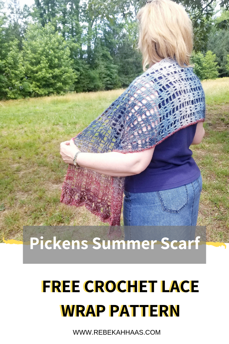 Pickens Summer Scarf FREE CROCHET PATTERN - Create a lightweight summer lace wrap using simple stitches and a dramatic edging. #freecrochetpattern #crochetlacewrap #crochetsummerscarf