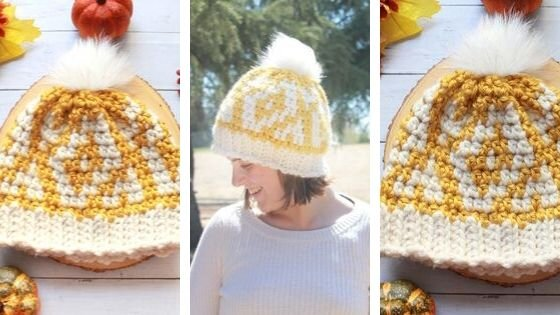 Autumn Diamonds Hat: Free colorwork crochet pattern