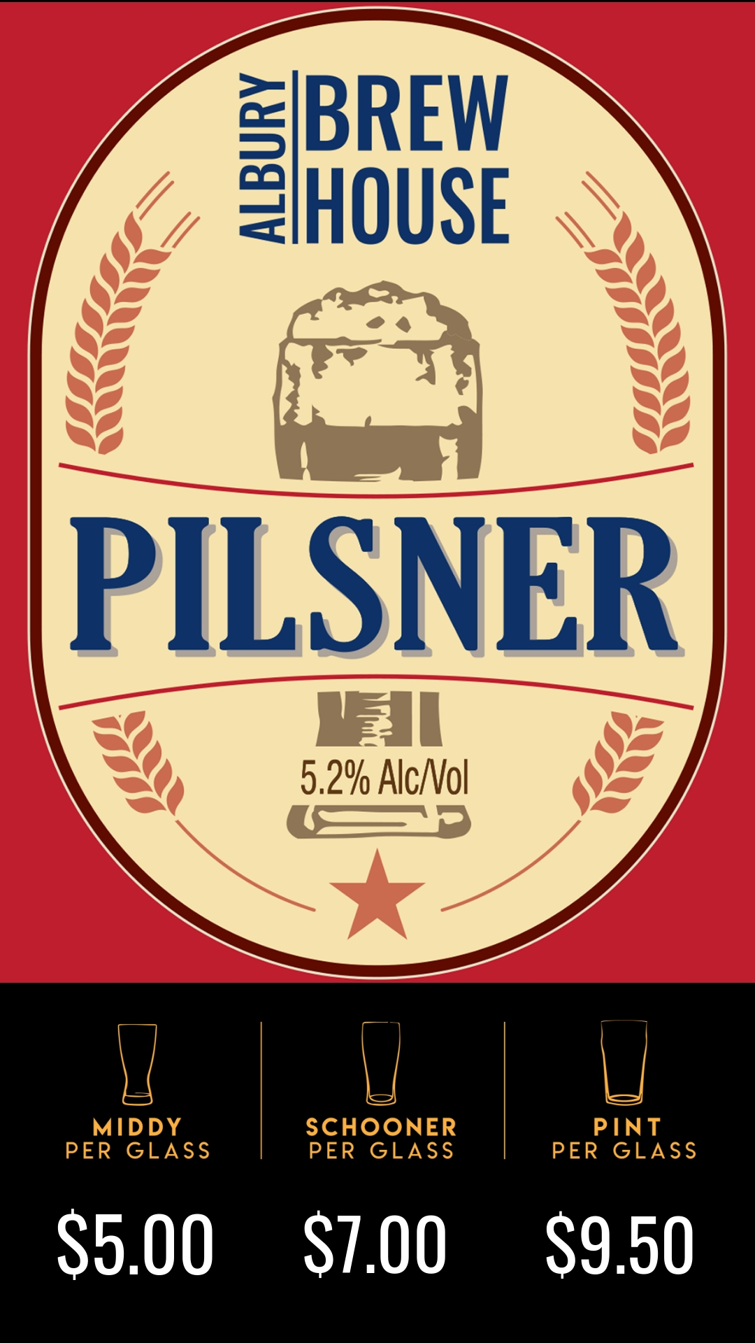 A big malt driven Pilsner with the back bone of Czech Saaz hops. Which helps give an earthy orange note that backs up the malt character on the end of the palate.