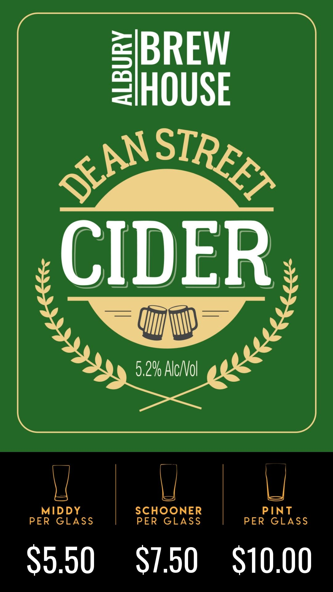 Named after Albury's iconic main street. Dean St Cider is made from 100% apples, which give it a true apple flavour, then left unfiltered and unpasteurized to create a nice scrumpy finish.