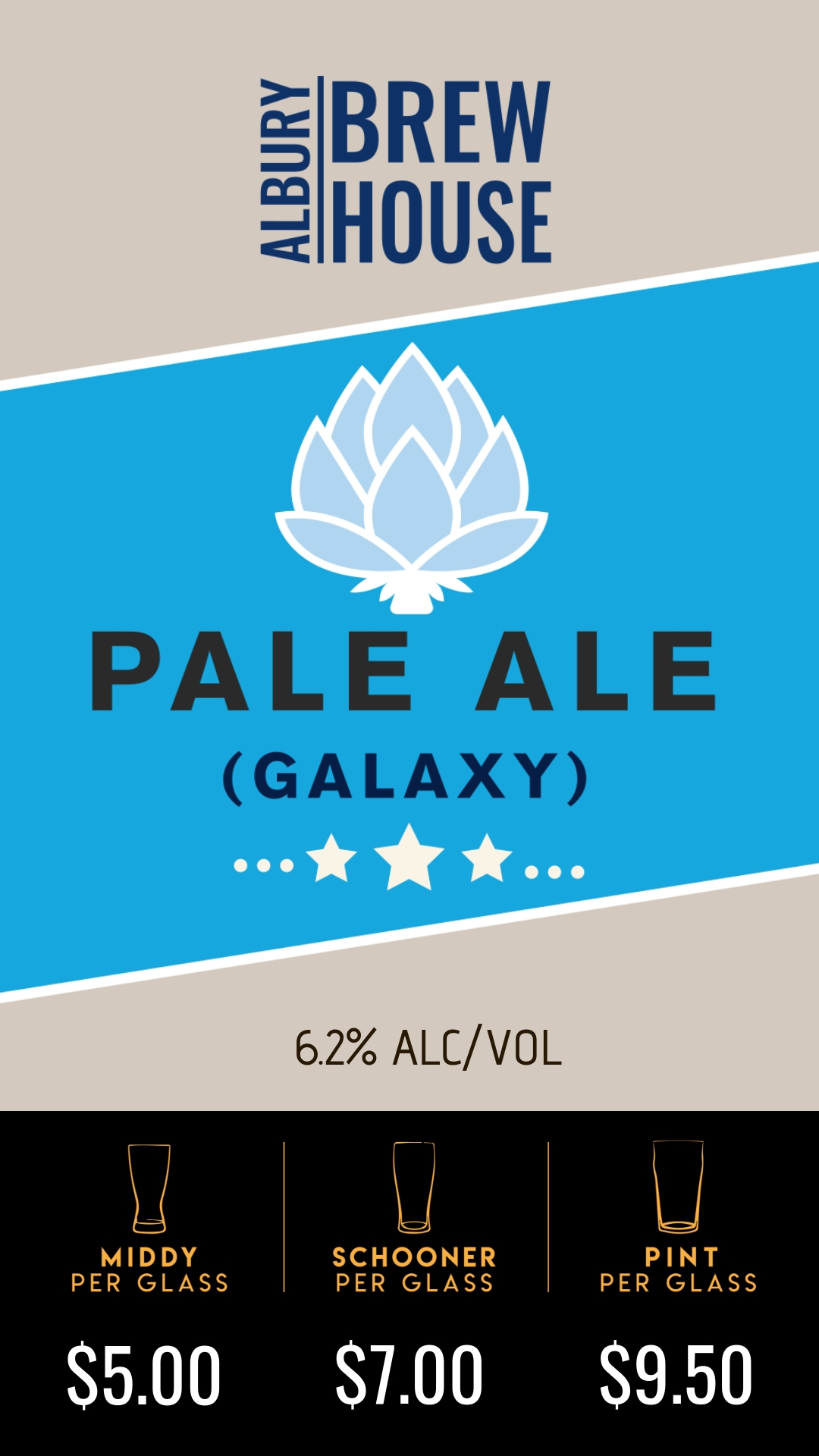 Light bodied Australian pale ale super dry hopped with galaxy, a hop varietal most commonly attributed to its wonderful passionfruit aroma. Perfect beer for any occasion.