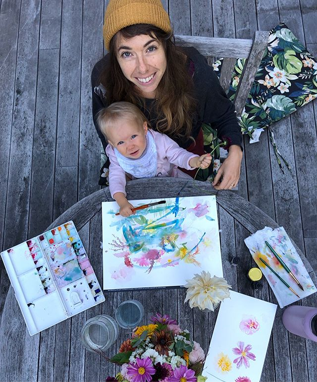 Georgie girl and I with our first collaborative painting 🥰 when I was pregnant I imagined our days in this ideal structured schedule with yoga play and art play and snacks and outside play time... It makes for a good chuckle now. 📸 @credence_bikes • • • • #proudmama #flashesofdelight #myvisualcrush #abmlifeiscolorful #abmhappylife #creativityfound #dscolor #dspattern #myhappypopsofcolor #thatsdarling #calledtocreate #thehappynow #reclaimthehappy #instaart #artistoninstagram #instagramartist #illustragram #illustratorsofinstagram #instapainting #artistsofig #artistsofinstagram #motherhoodthroughig #lifeasamama #motherhoodrising #slowmotherhood #thingsiwanttoremember #rememberingthesedays