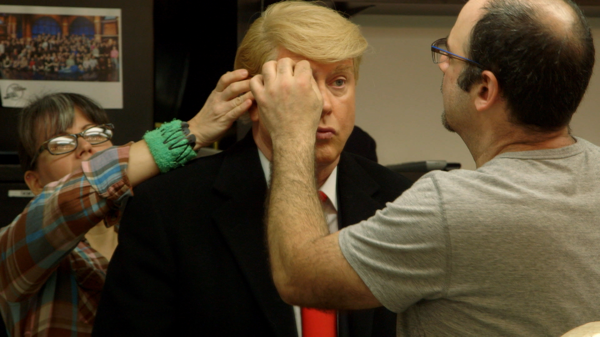 Darrell Hammond getting make-up applied backstage at Saturday Night Live - From the documentary film Cracked Up.