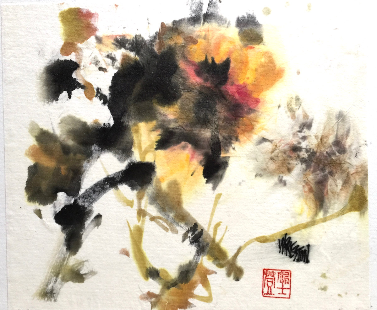 Abstract Blossom - Sumi/Chinese WC -9.x10.25 im 11x14fr  $400.