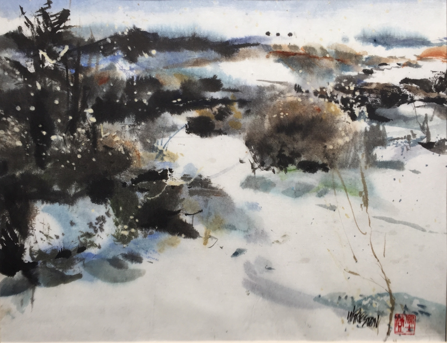 Winter Snow - 13.5x17.5 Sumi & Chinese wc