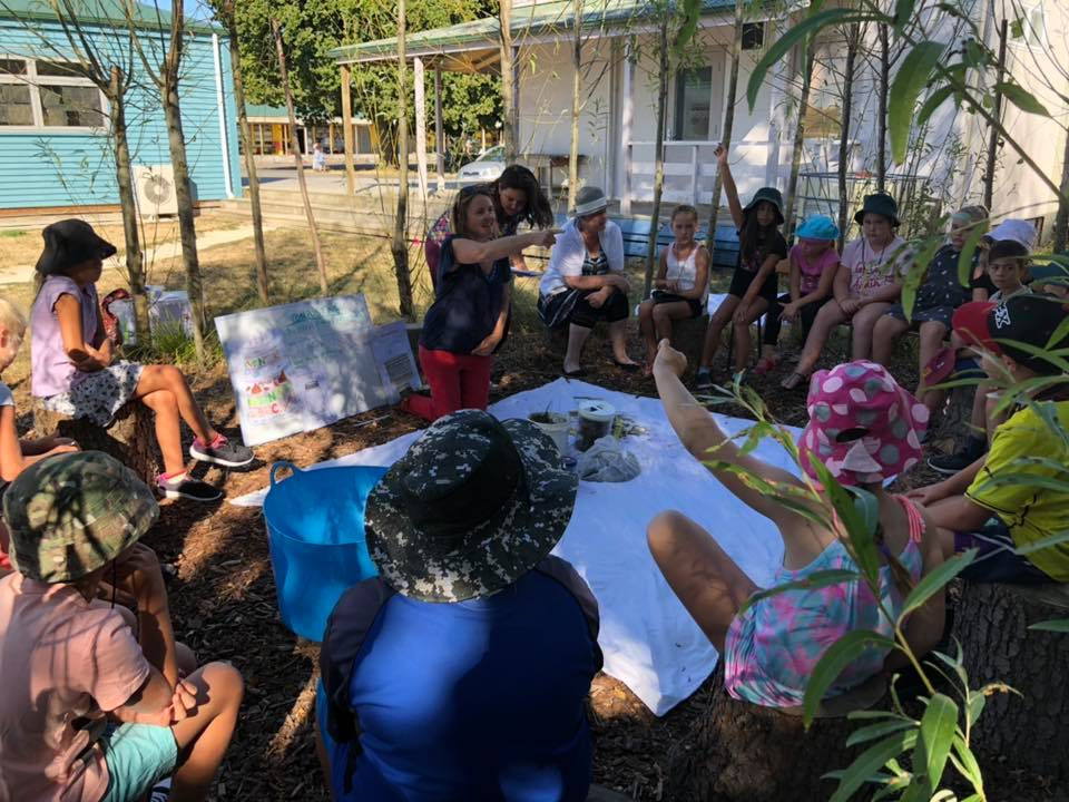 teaching how to make hot and happy compost to Totara 1 in the outdoor classroom