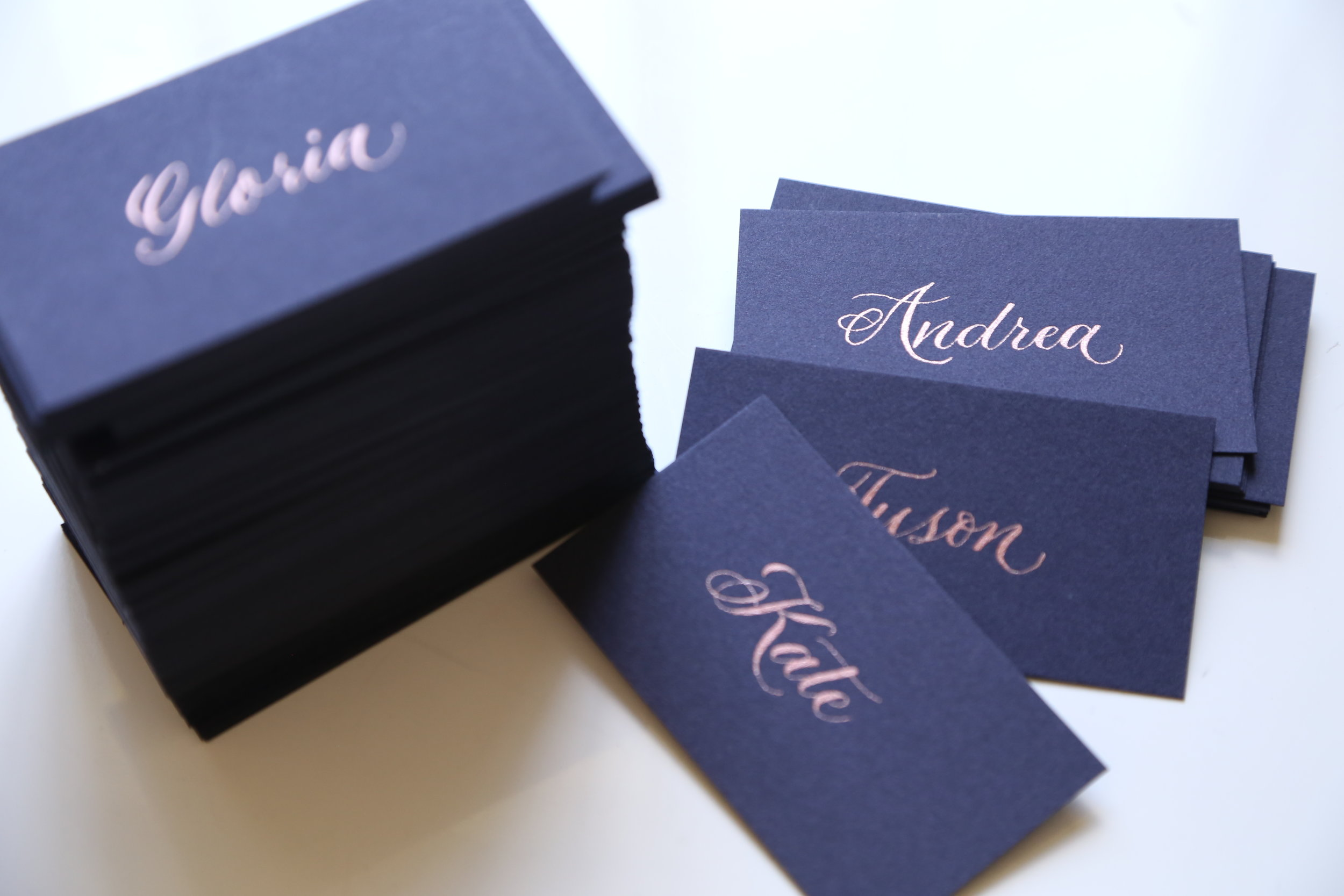 Rose gold on navy flat place card