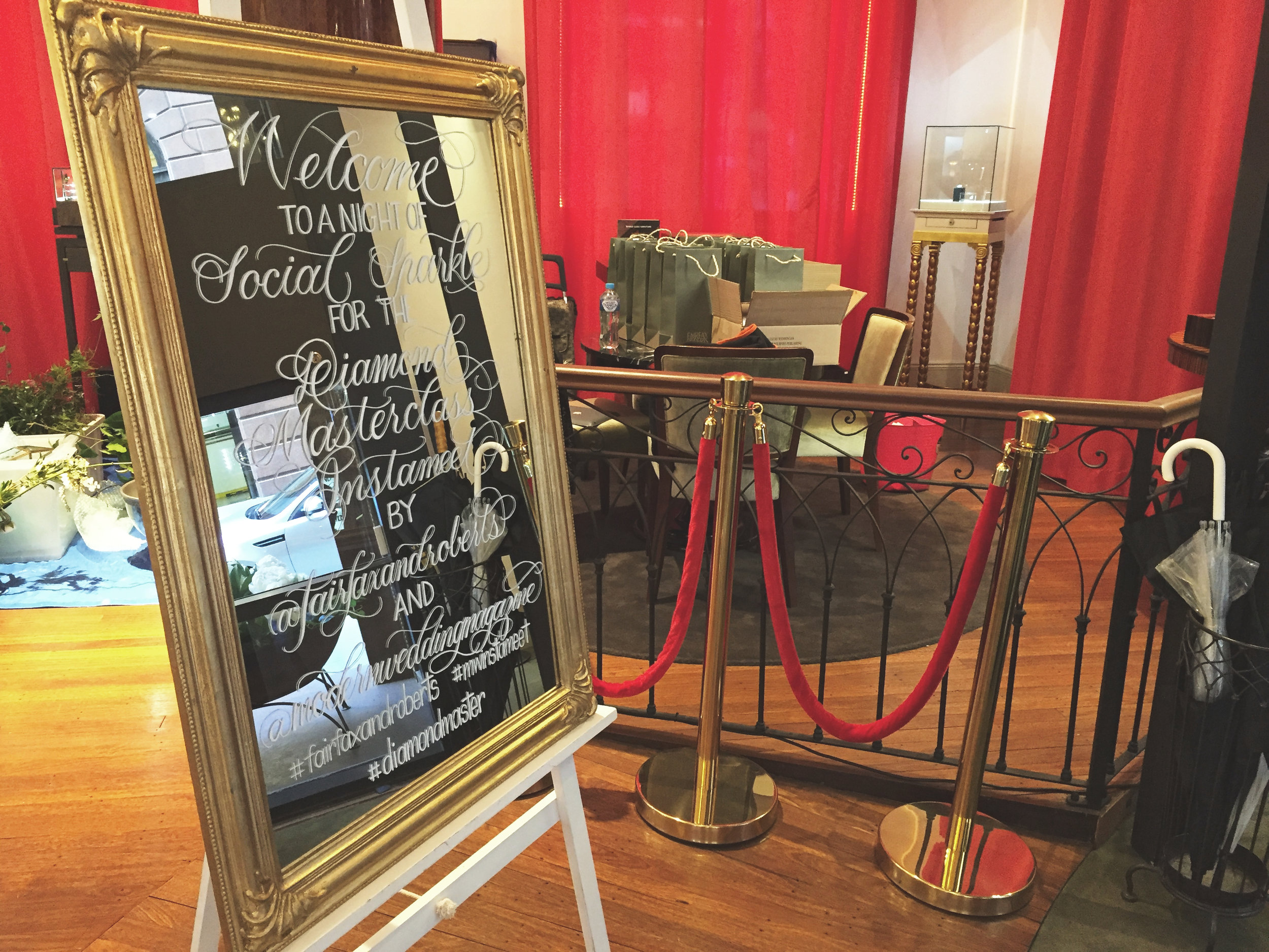 Handwritten calligraphy mirror for Fairfax and Robert x Modern Wedding Diamond Masterclass event in Sydney