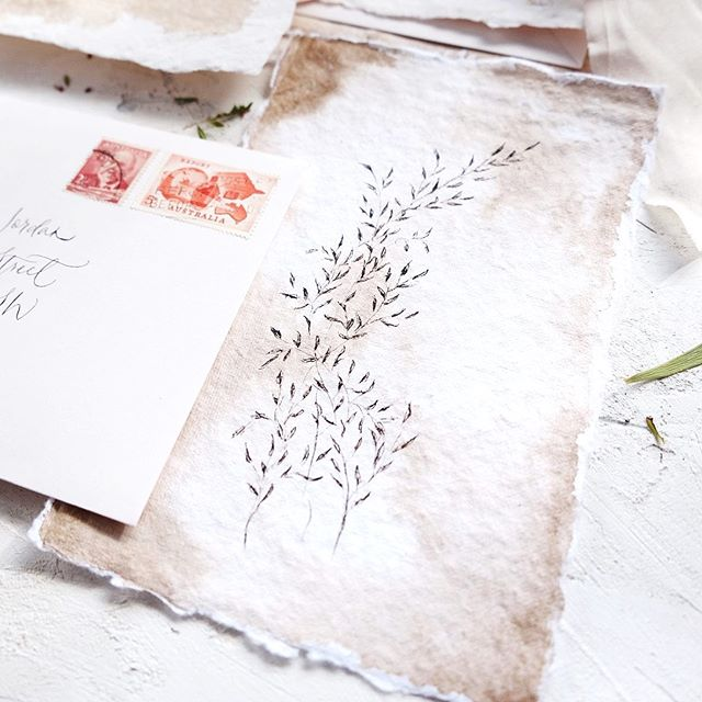 I love the antique feel of this set I did for a styled shoot. . . . . #handmadepaper #decklededge #decklededgepaper #papermaking #paper #wedding #weddinginvitation #weddings #weddinginspiration #weddinginspo #weddingstationery #dailydoseofpaper #love #monogram #rusticwedding #calligraphy #moderncalligraphy #calligrapher #dippen #pointedpen #semicustom #custominvitations #custominvitation #sydneycalligrapher
