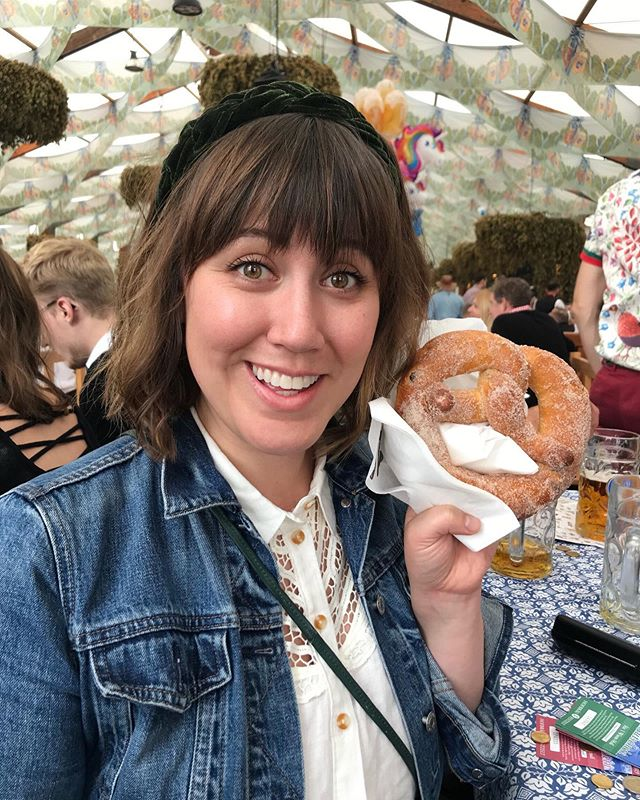 Oktoberfest highlights include: beers too big, a surly Wiesn waitress, this gifted pretzel (and gingerbread Lebkuchenherz, too!), time with pals, and a little bit scary, lotta bit fun 90-meter swing carousel. 🥨  Prost!
