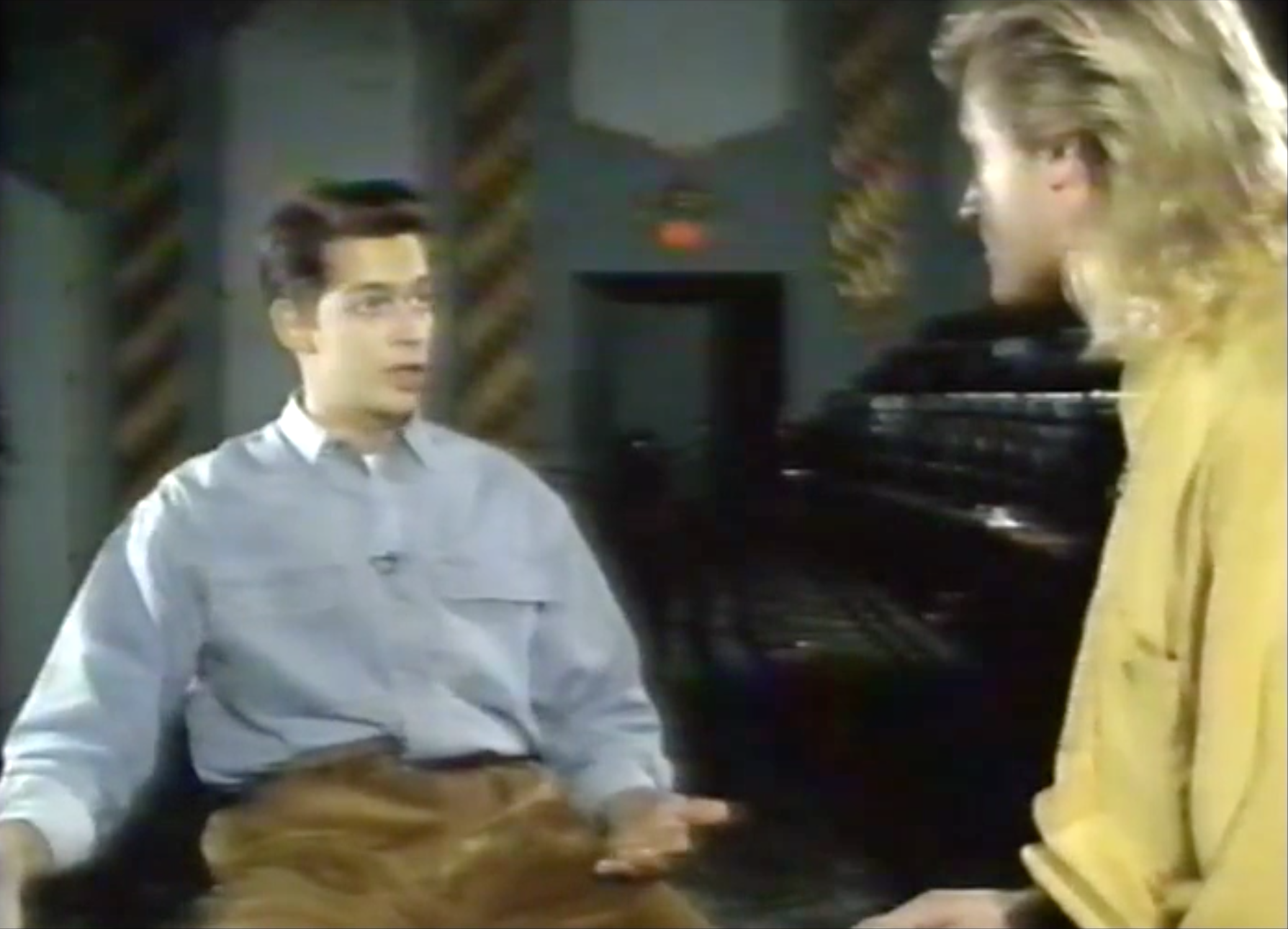 Not Ed Grimley, but Harry Connick, Jr. in his first TV special on the Family Channel in 1991- the long-haired hippie freak is Jim.