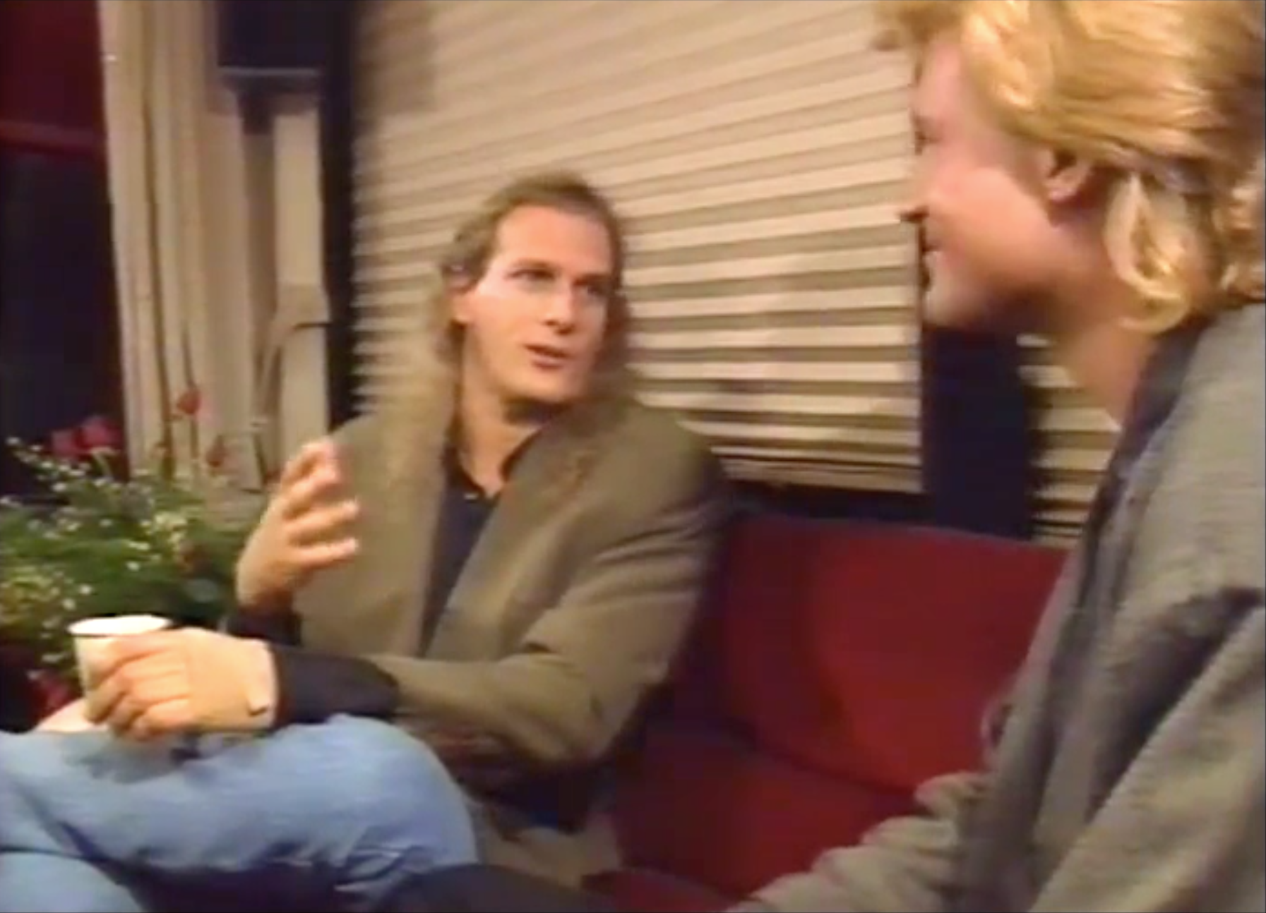 Interviewing Michael Bolton in his tour bus outside the stadium in Vancouver, 1991.