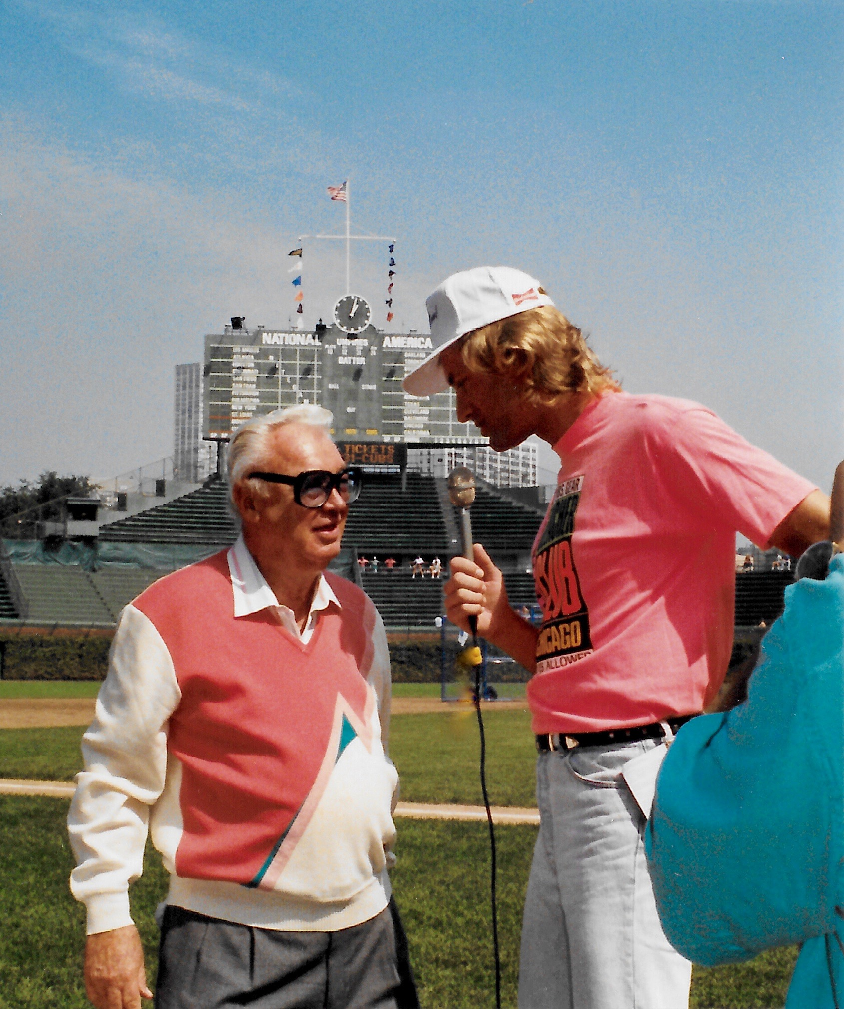 "Asking legend Harry Caray to say ""holy cow"" over and over at Wrigley Field, Chicago, 1991."