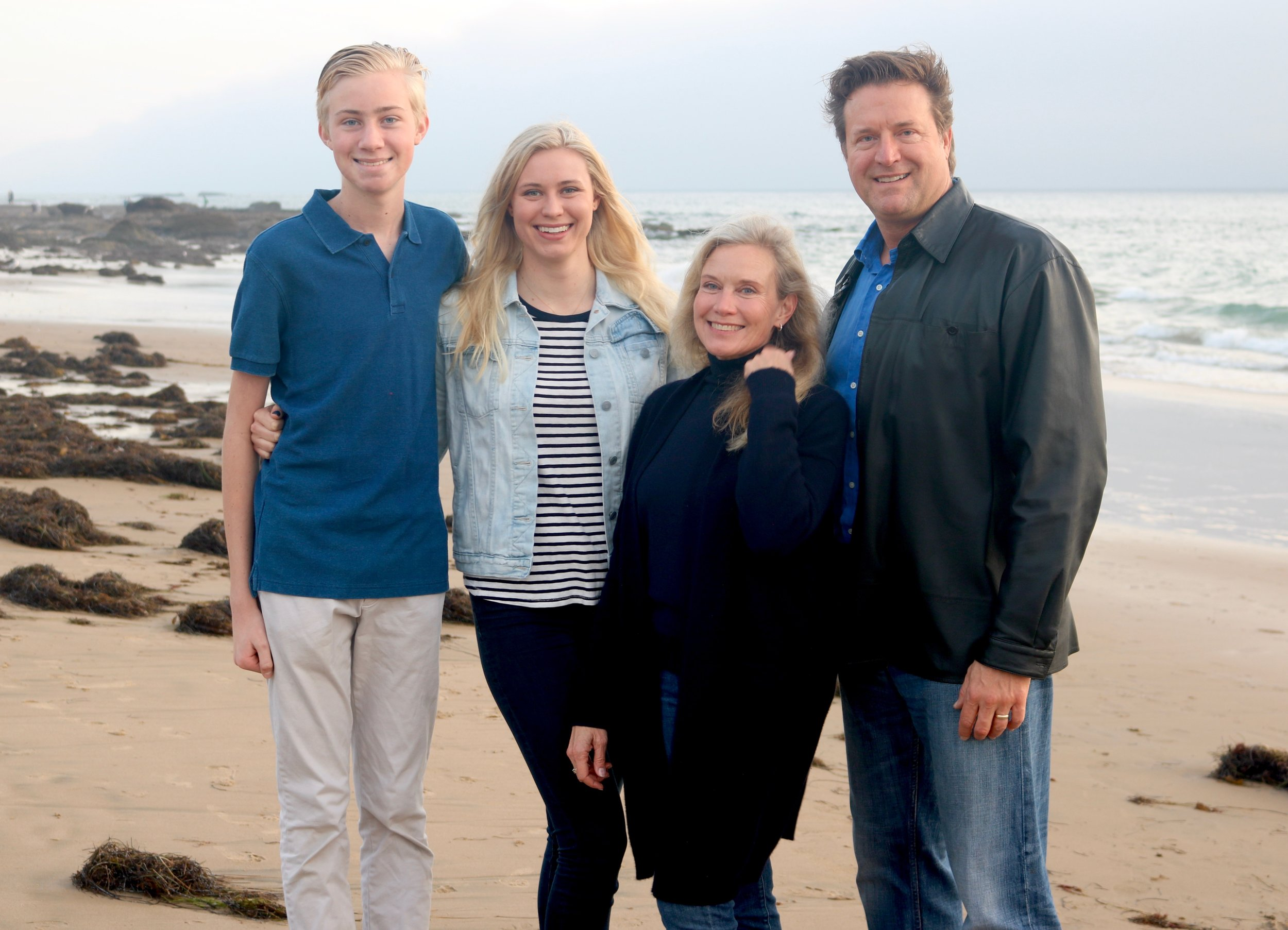 Hodson family moments before being swept away by a rogue wave in Crystal Cove, CA; Jonathan, Hayley, Sonya, Jim, 2017.
