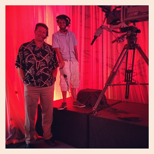 "Height comparison between 6'-8""/203cm announcer Jim vs. normal-sized cameraman Paul at In-N-Out Burger event in Hawaii. Jim has been the voice of In-N-Out since 1989."