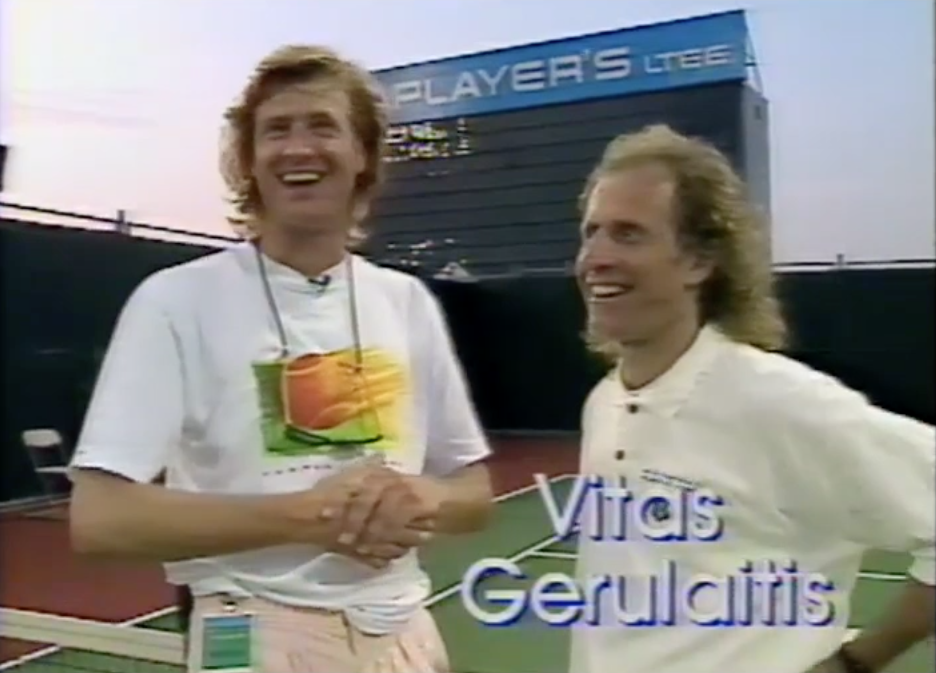 Having a laugh with tennis great Vitas Gerulaitis who, sadly, passed away 3 years later from carbon-monoxide poisoning.