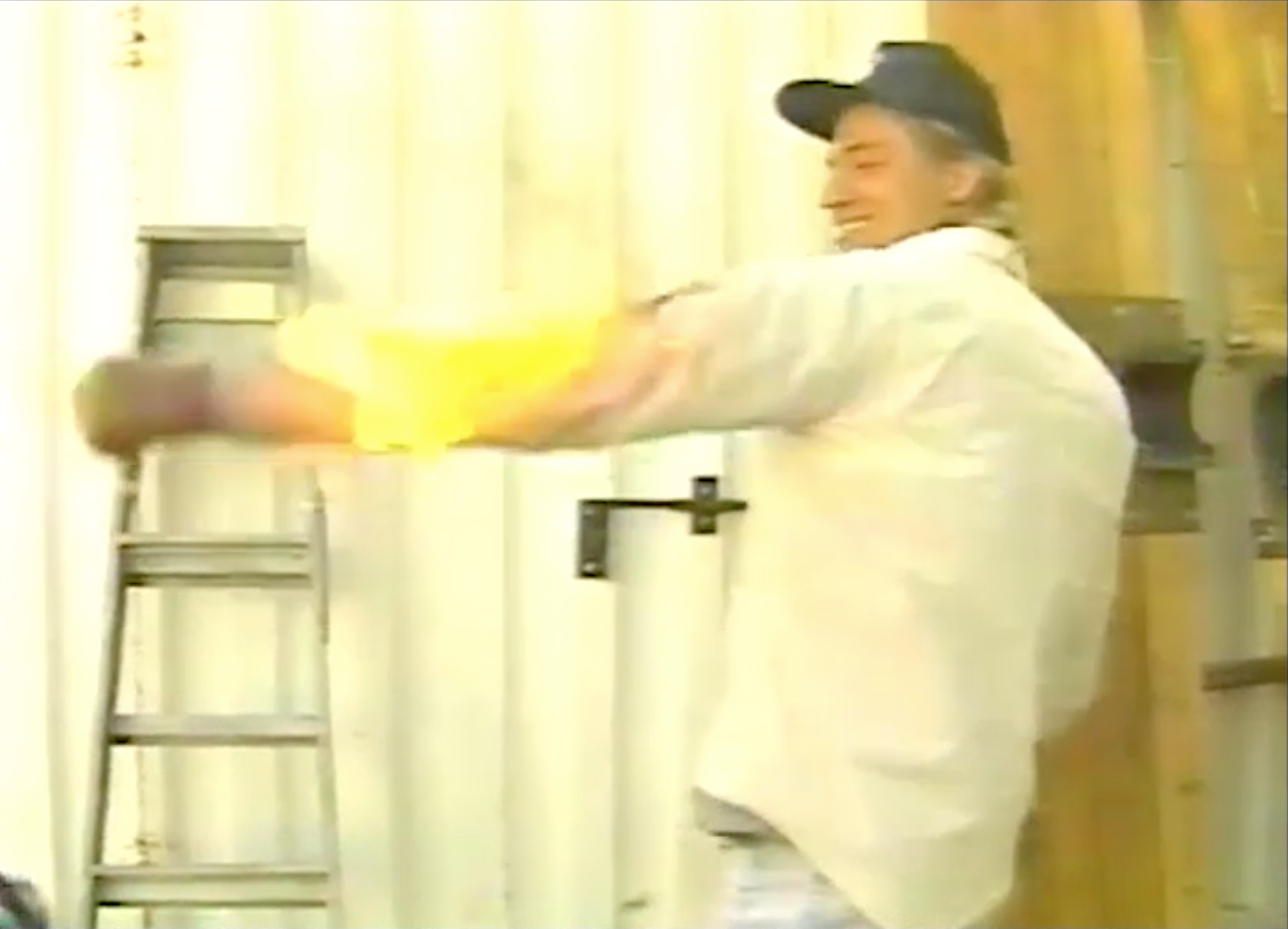 Stuntman Mike Johnson taught Jim a number of stunts including this fire burn on a Videosyncrasy episode in 1991. The flames spread to engulf Jim's entire body, explaining his appearance today.