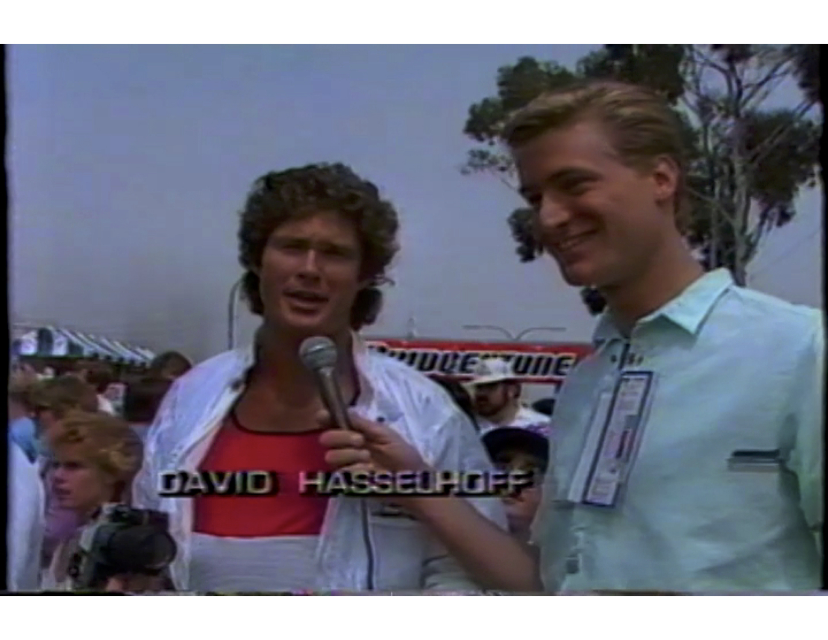 "The legendary David Hasselhoff at the Long Beach Grand Prix in 1985. Jim has all his albums and a ""Hoff"" shrine in his home to this day."