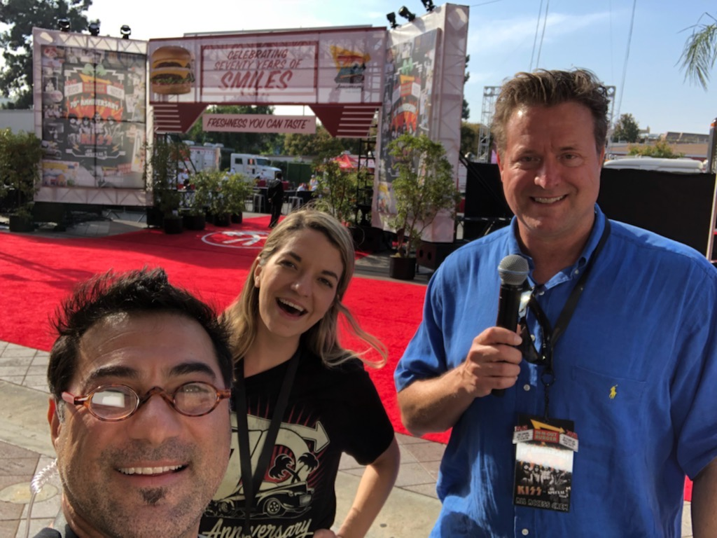 Rehearsing on the red carpet at The Shrine in LA with Nersi Elahi and Tami Hinson of In-N-Out's stellar TV crew.