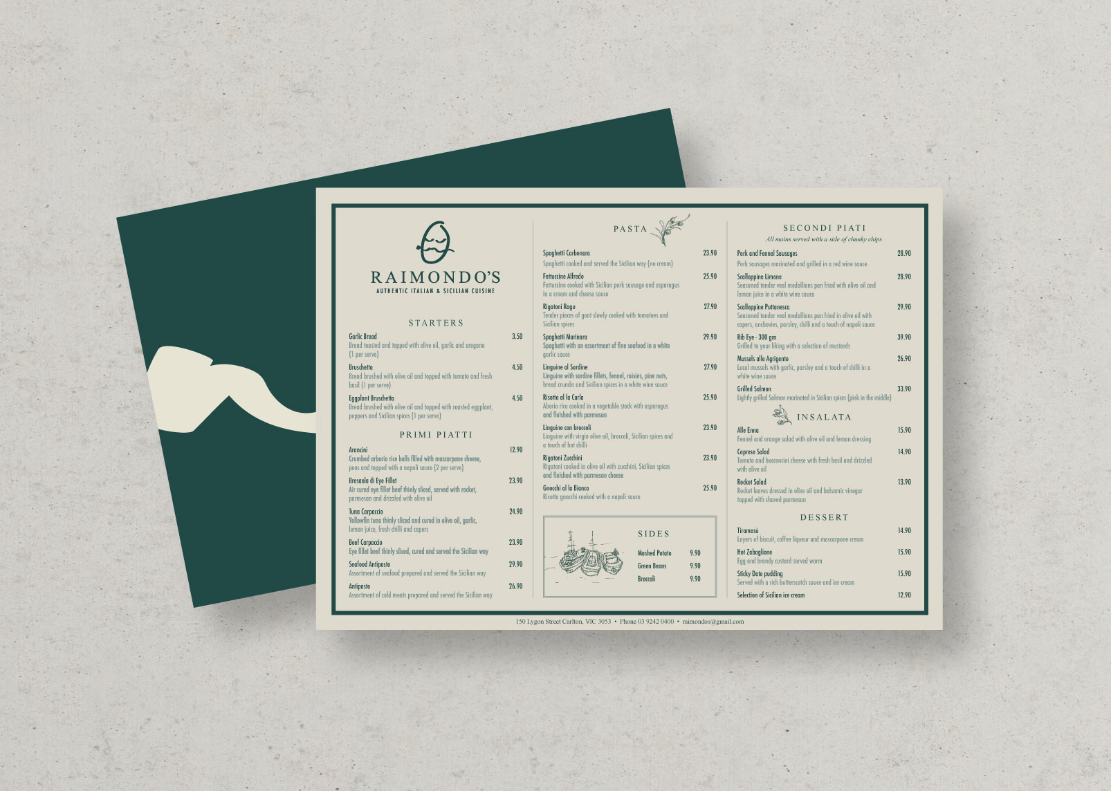 Additional illustrations were created for the menus to hint at the Sicilian influence.