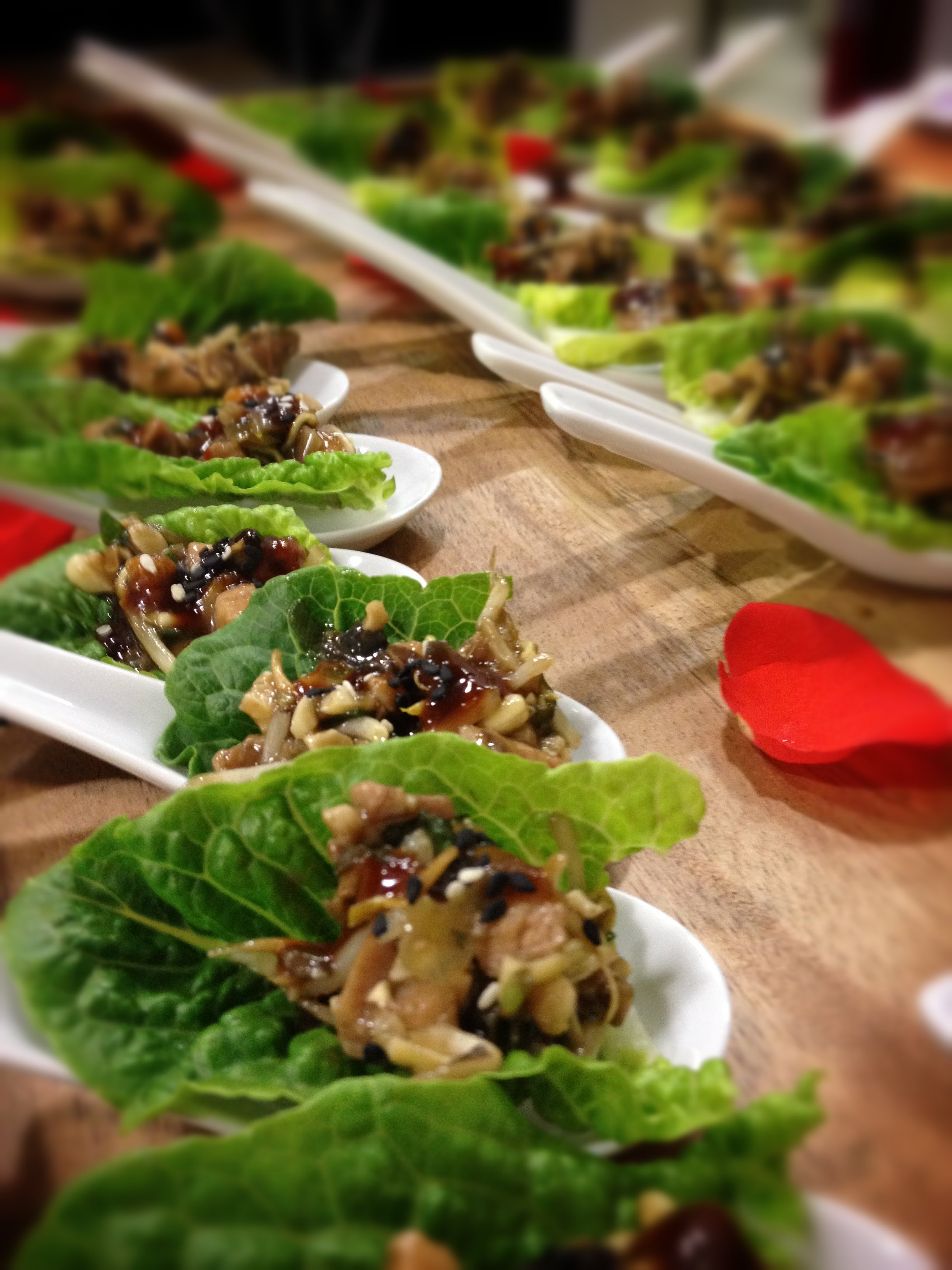 Thai chicken lettuce cups with lemongrass, toasted cashew and sesame