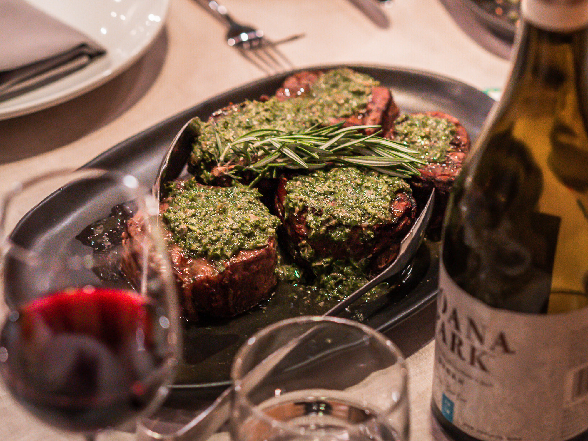 Grilled beef scotch fillet with salsa verde