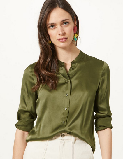 M&S olive silk shirt £59