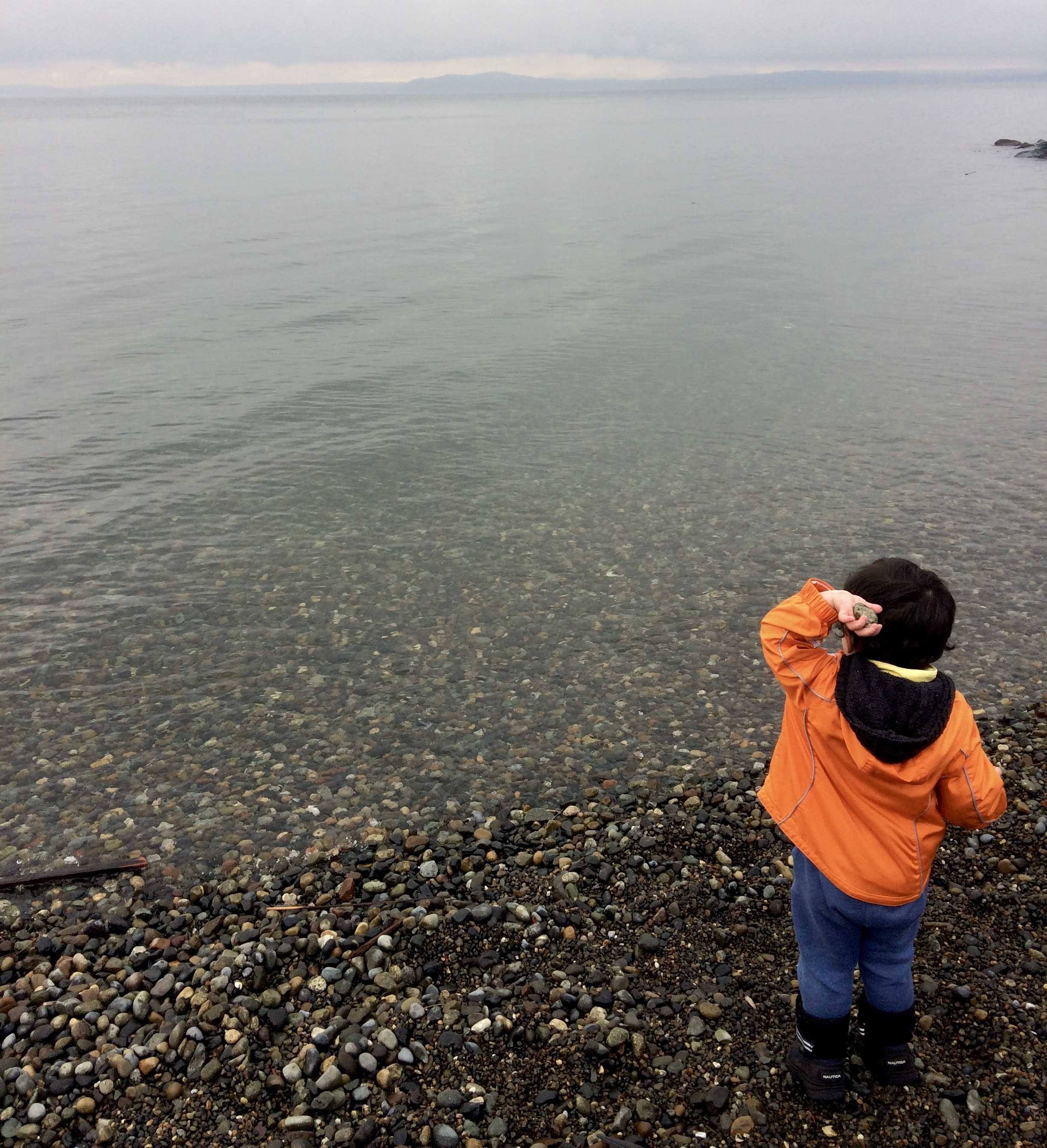 Throwing rocks in the Puget Sound, Seattle.