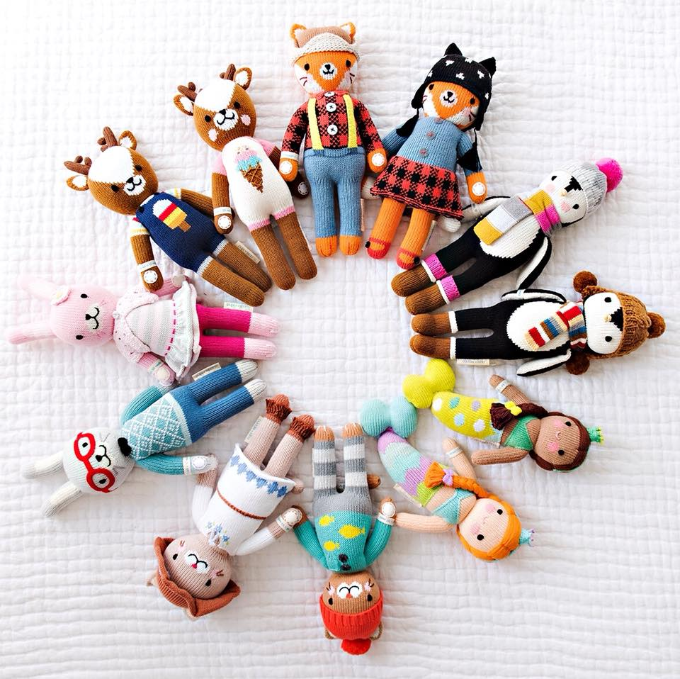 """- """"For every ethically-produced, hand-knit doll, we provide 10 meals to children in need."""""""
