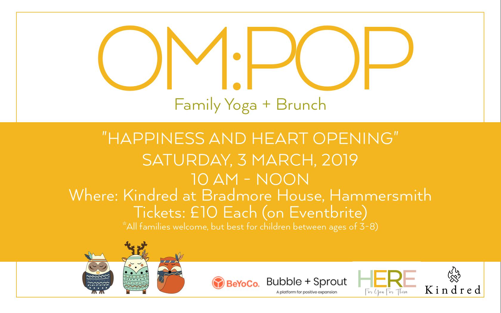 Om:Pop Family Yoga and Brunch, Hammersmith London at Kindred, Dana Dyksterhuis, Jen Armstrong, Karin Schrijvers, Hammersmith Yoga