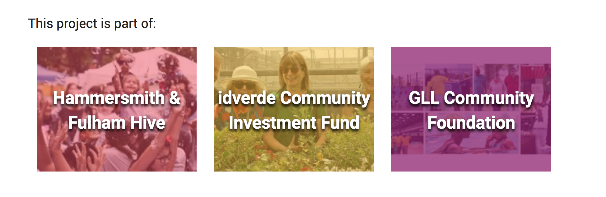 GLL Community Foundation, Hammersmith & Fulham Hive, idverde Community Investment Fund