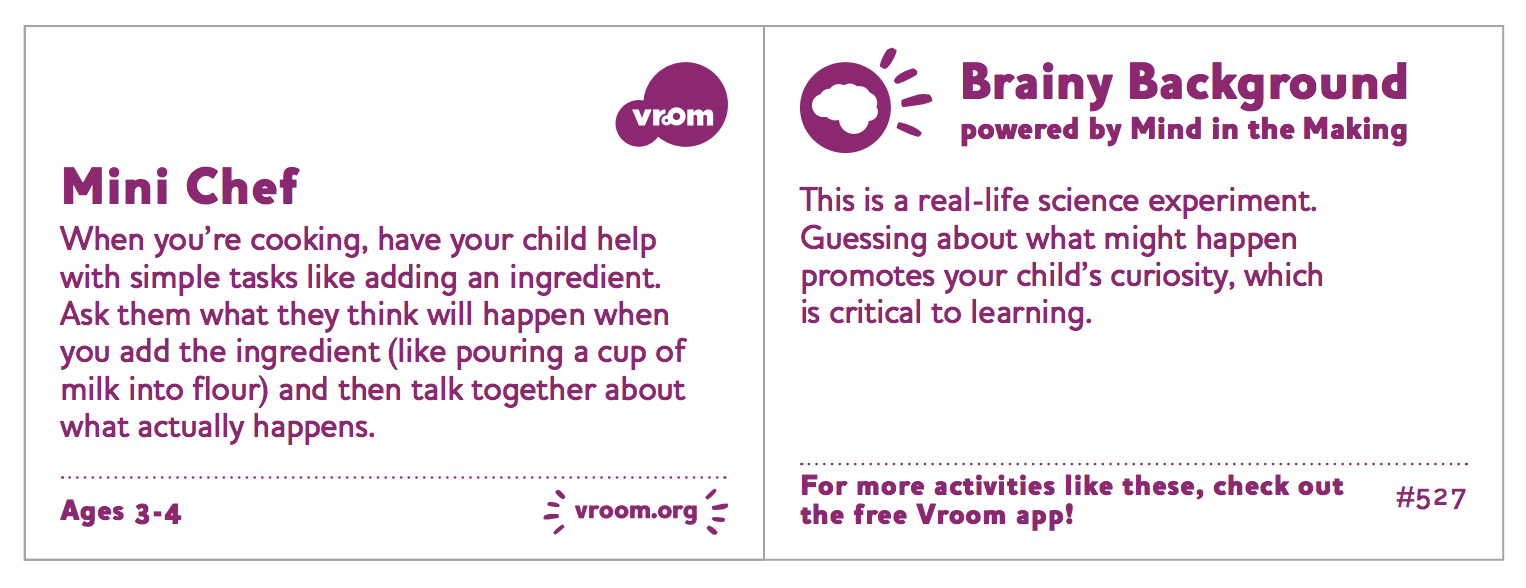 Vroom Brain Building activities from the Bezos Family Foundation